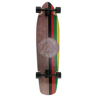 Airwalk Multicolored Wood and Aluminum 36-inch Icon Rasta Longboard Skateboard