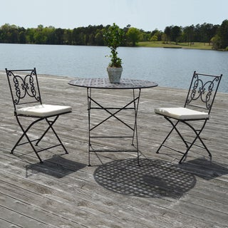Catania Black Powder-coated Steel 3-piece Bistro Set