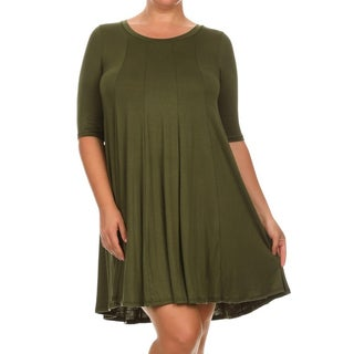 MOA Collection Women's Green Rayon/Spandex Plus-size Short Shift Dress