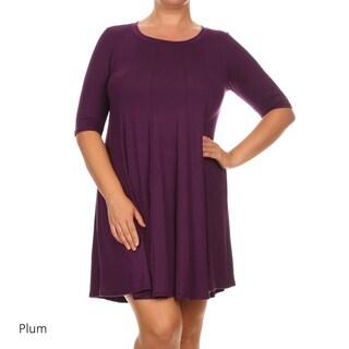 MOA Collection Women's Green Rayon/Spandex Plus-size Short Shift Dress