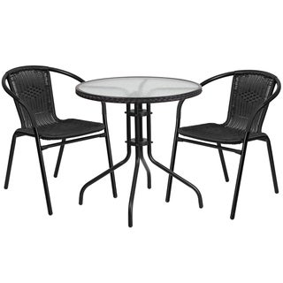 28-inch Round Glass and Metal Table with Rattan Edging and 2 Stack Chairs