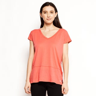 Satva Organic Women's Vina Pink Cotton V-neck Short-sleeve Tee