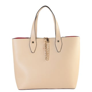 Diophy Women's Faux Leather Front Chain Decor Multi-spaced Tote Handbag Accented with Removable Strap