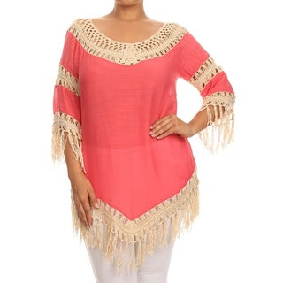 MOA Collection Women's Pink Rayon, Spandex Plus-size Macrame Crochet Panel Tunic