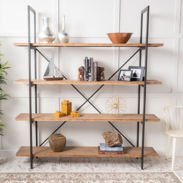 """Irene Industrial 4 Shelf Firwood Bookcase by Christopher Knight Home - 72.00"""" W x 17.00"""" D x 79.00"""" H"""