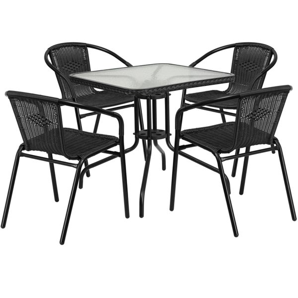 Metal Glass Top 28 Inch Table With Rattan Edging And 4 Rattan Stack Chairs Free Shipping Today