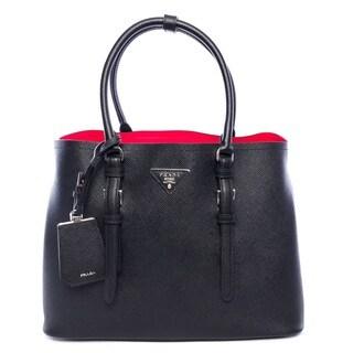 Prada Double Bag Black Leather Tote Handbag - Black