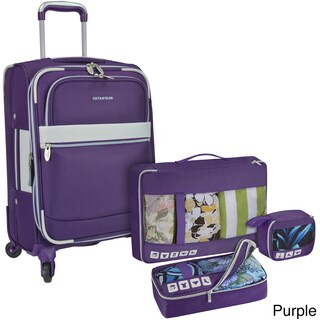 U.S. Traveler by Traveler's Choice Alamosa 4-Piece Expandable Carry-On Spinner Luggage Set (Option: Purple)