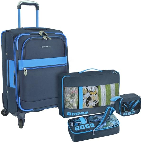 U.S. Traveler 4-Piece Carry-On Spinner Luggage Set