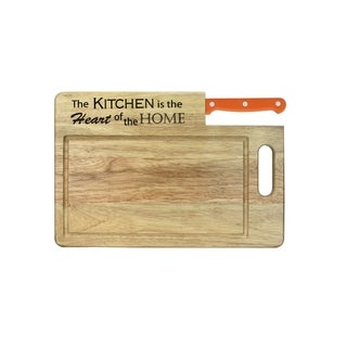 """Ginsu Custom Gift Collection """"Kitchen is the Heart of the Home"""" Engraved Cutting Board with Orange Santoku Knife"""