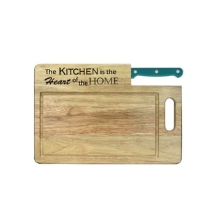 Essential Series 'The Kitchen is the Heart' Wood Cutting Board with Santoku Knife