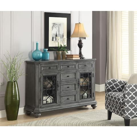 """Somette Two Door Six Drawer Sideboard, Burnished Grey - 52""""W x 15""""L x 36""""H"""