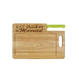 Essential Series 'The Kitchen is the Heart' Santoku Green Stainless Steel/Wood Cutting Board