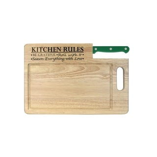 Ginsu Essential Series 'Kitchen Rules' Wood Cutting Board with 7-inch Santoku Knife