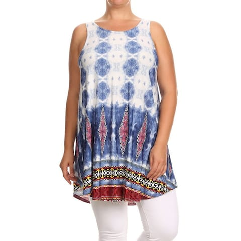 MOA Collection Women's Plus Size Tie Dye Tapestry Tank Top