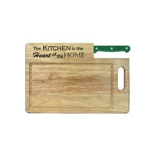 Essential Series 'The Kitchen is the Heart' Cutting Board with Santoku Knife