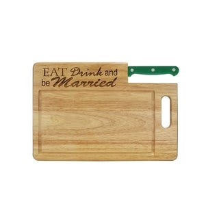 """Ginsu Custom Gift Collection """"Eat Drink and Be Married"""" Engraved Cutting Board with Green Santoku Knife"""