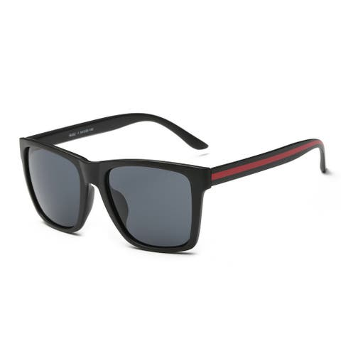 Matte Black Frame Square Sunglasses with Dark Grey Lens