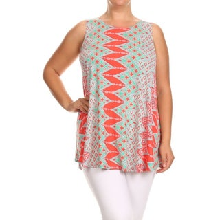 MOA Collection Women's Multicolor Chevron Plus-size Tank Top