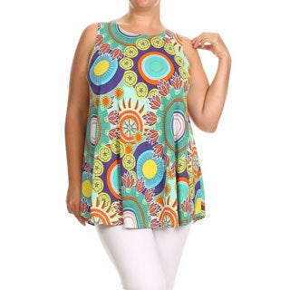 MOA Collection Plus Size Women's Multicolor Polyester and Spandex Floral Medallion Sleeveless Top