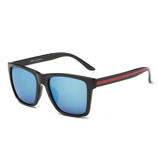 Black Frame Square Sunglasses with Blue Tinted Lenses