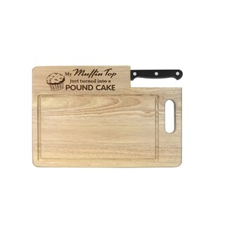 """Ginsu Custom Gift Collection """"Muffin Top/Pound Cake"""" Engraved Cutting Board with Black Santoku Knife"""