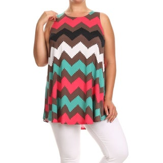 MOA Collection Women's Multicolored Polyester, Spandex Chevron Plus-size Tank Top
