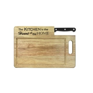 """Ginsu Custom Gift Collection """"Kitchen is the Heart of the Home"""" Engraved Cutting Board with Black Santoku Knife"""