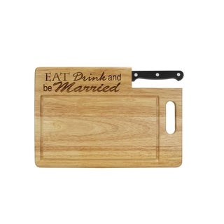 Ginsu Essential Series Black Stainless Steel, Wood Laser-etched Cutting Board with Santoku