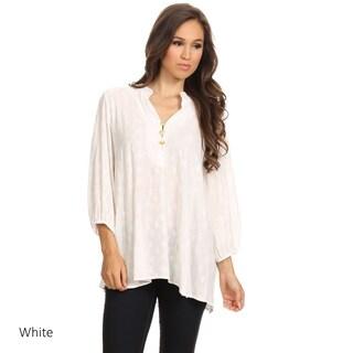 MOA Collection Women's Mandarin Collar Tunic (Option: White - S)