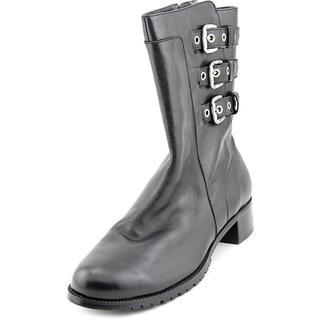 Adrienne Vittadini Women's Trojan Black Leather Boots