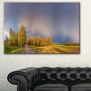 Green Field Under Rainbow Sky - Landscape Photo Canvas Print