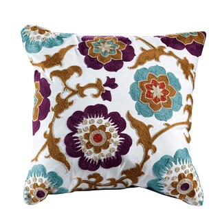 Magnolia Embroidered Cotton 18-inch Throw Pillow
