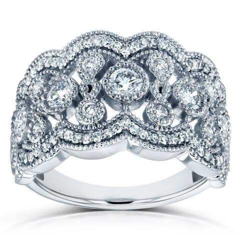 Annello by Kobelli 10k White Gold 3/4ct TDW Diamond Floral Wide Anniversary Band