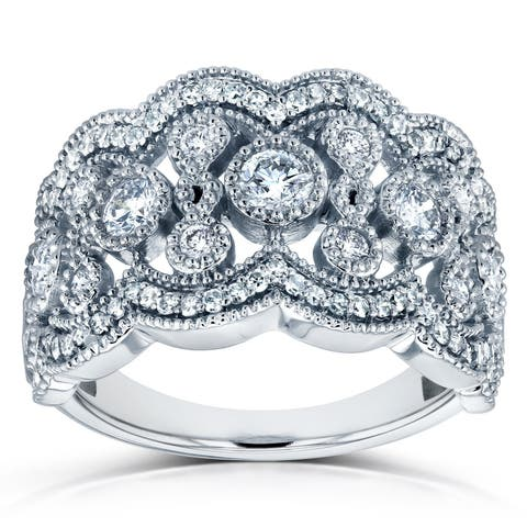 Annello by Kobelli 10k White Gold 3/4ct TDW Diamond Floral Wide Anniversary Band