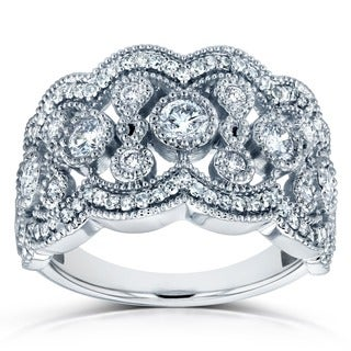 Annello by Kobelli 10k White Gold 3/4ct TDW Diamond Floral Wide Anniversary Band (Option: 4.5)