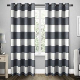 Havenside Home Rohoboth Cabana Stripe Linen Grommet Top Window Curtain Panel Pair