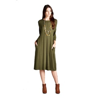 Stanzino Women's Rayon and Spandex 3/4 Sleeve T-shirt Midi Dress