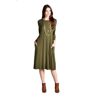Stanzino Women's Rayon and Spandex 3/4 Sleeve T-shirt Midi Dress