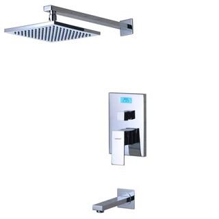Sumerain Chrome Finish Digital Temperature Display LCD Back-Light Thermal Tub/Shower Faucet