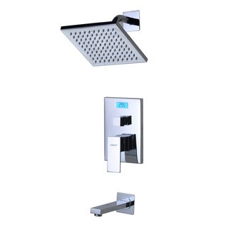 Sumerain Chrome Finish Digital Temperature Display LCD Backlight Thermal Tub/Shower Faucet