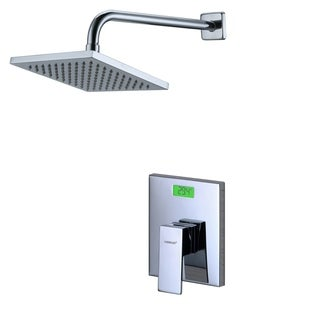 Sumerain Silver Brass, Stainless Steel Digital Temperature Display LCD Backlight Thermal Shower Faucet