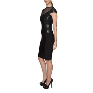 Sentimental New York Body-con Knee Dress With Mesh Detailing