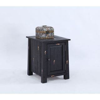 Black Chairside Table with Cabinet