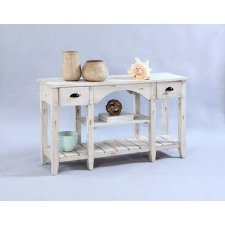 Distressed White Poplar Veneer Console Table