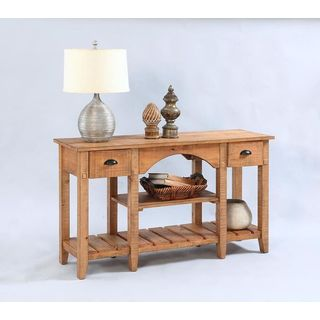 Distressed Veneer Console Table