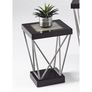 Distressed Metal and Ceramic Square Chairside Table