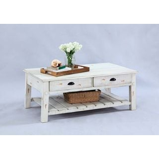 Distressed White Veneer Rectangular Cocktail Table
