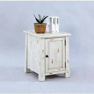 Distressed White Veneer Chairside Cabinet