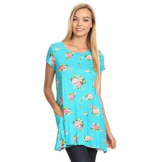MOA Collection Women's Multicolor Rayon/Spandex Floral-pattern Shirt